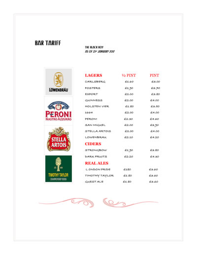 View our bar tariff